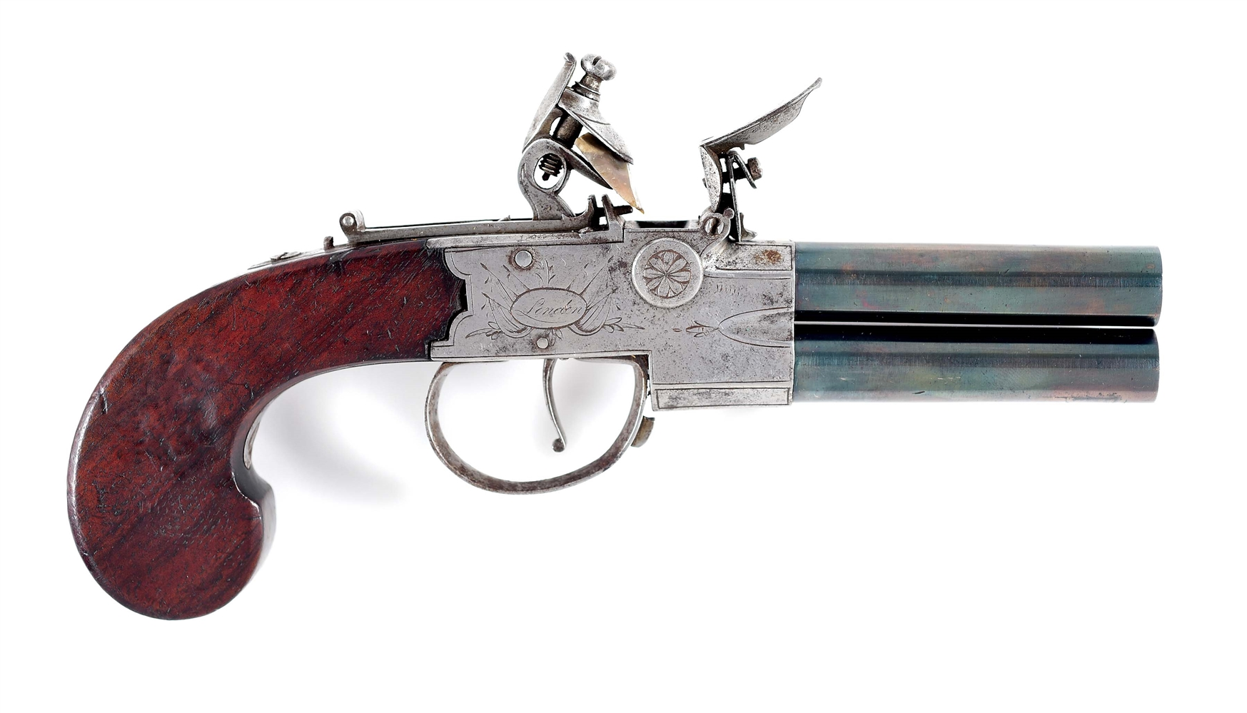 (A) JONES TAP ACTION SUPERPOSED .50 CALIBER FLINTLOCK PISTOL.