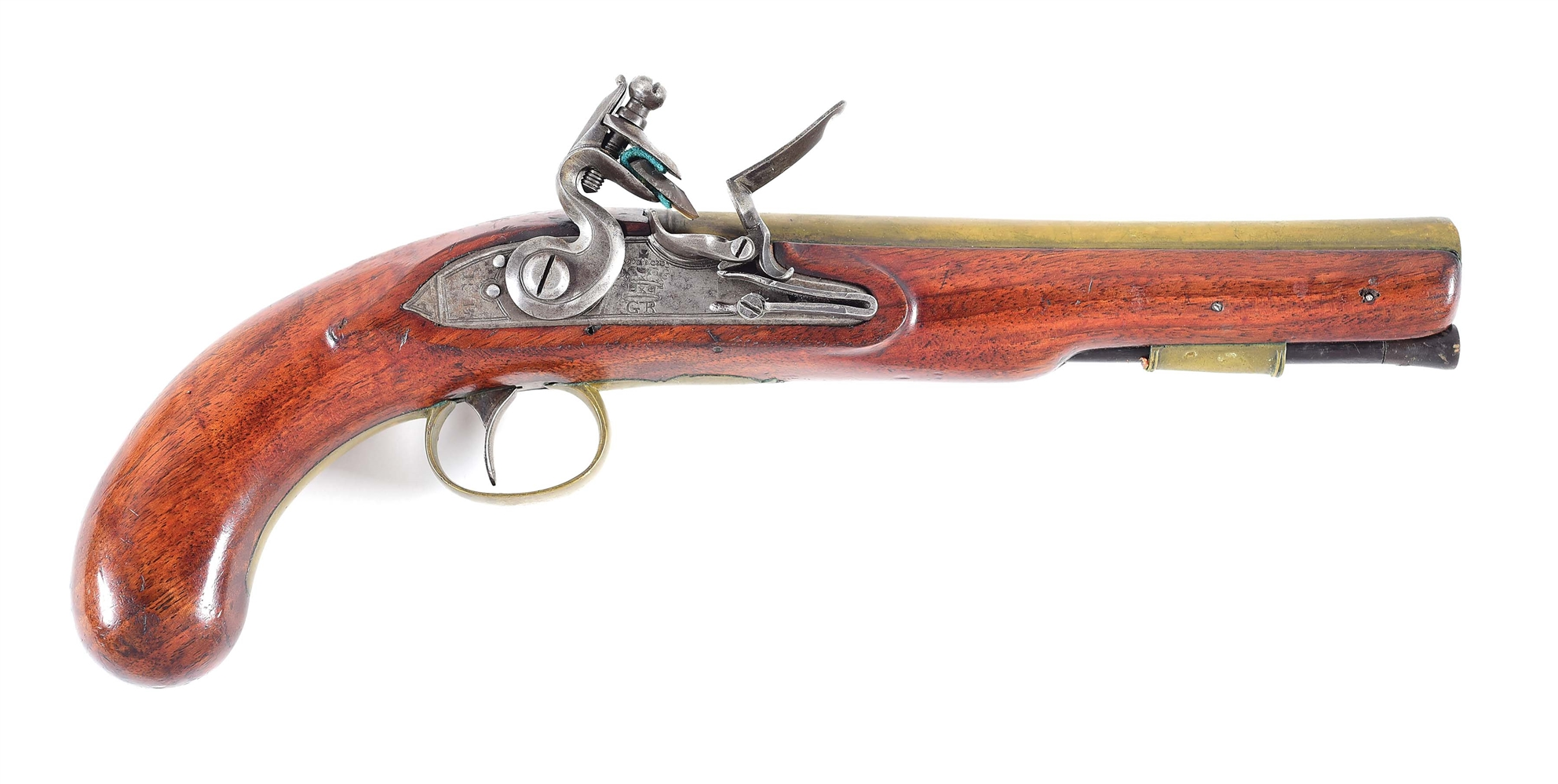 (A) A .65 CALIBER BRASS BARREL FLINTLOCK PISTOL, LIKELY BRITISH.
