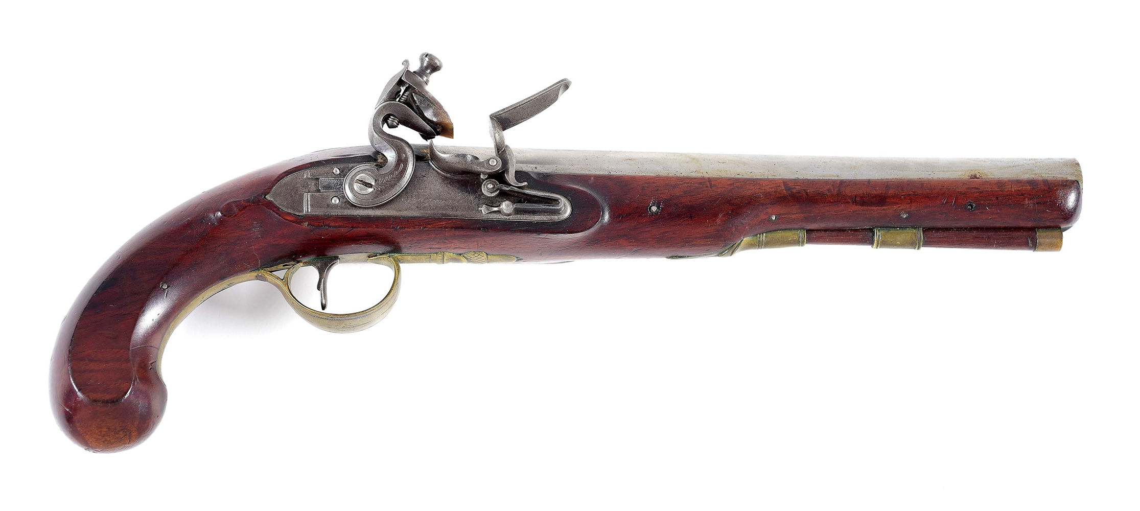 (A) RYAN & WATSON SIGNED FLINTLOCK HOLSTER PISTOL.