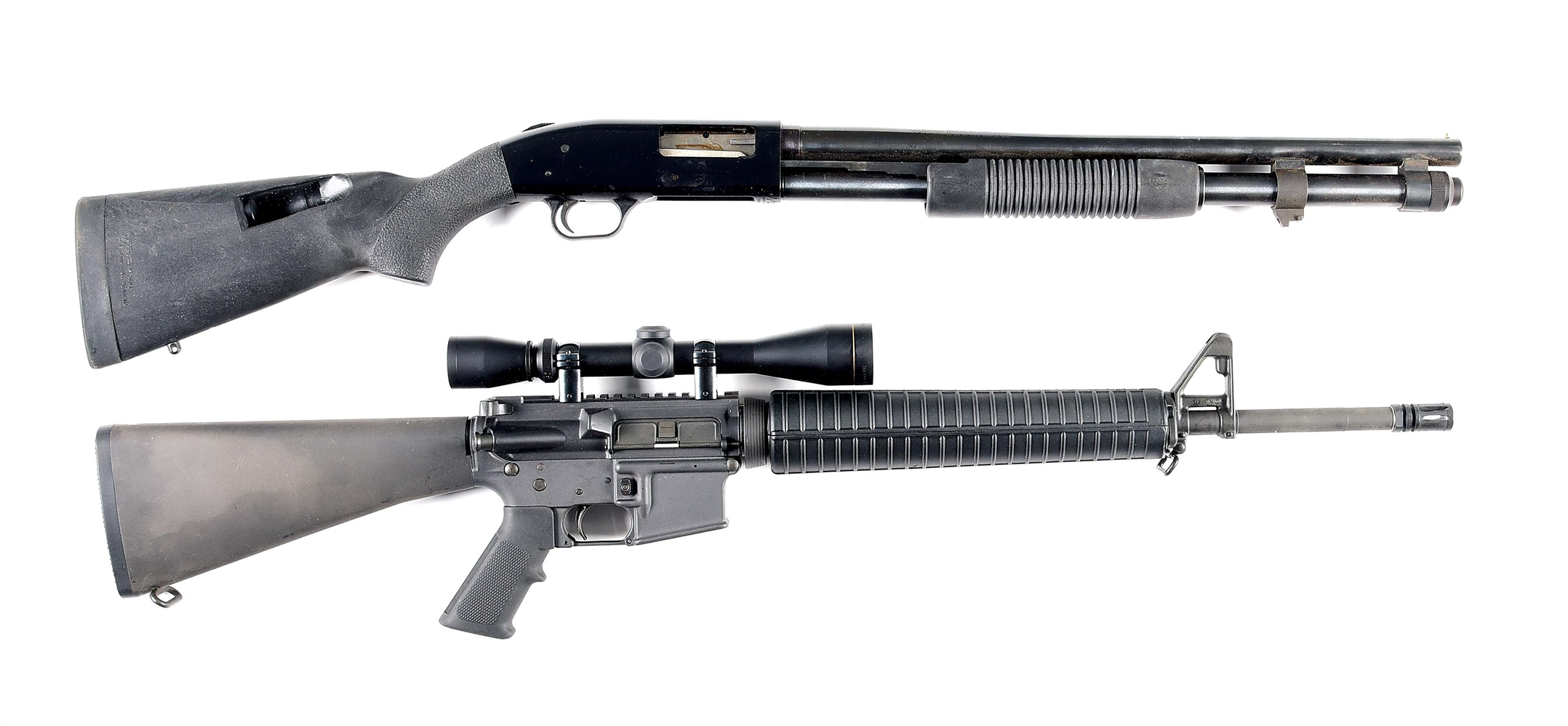 (M) LOT OF 2: MOSSBERG 500A SHOTGUN AND COLT COMPETITION H BAR SEMI AUTOMATIC RIFLE.