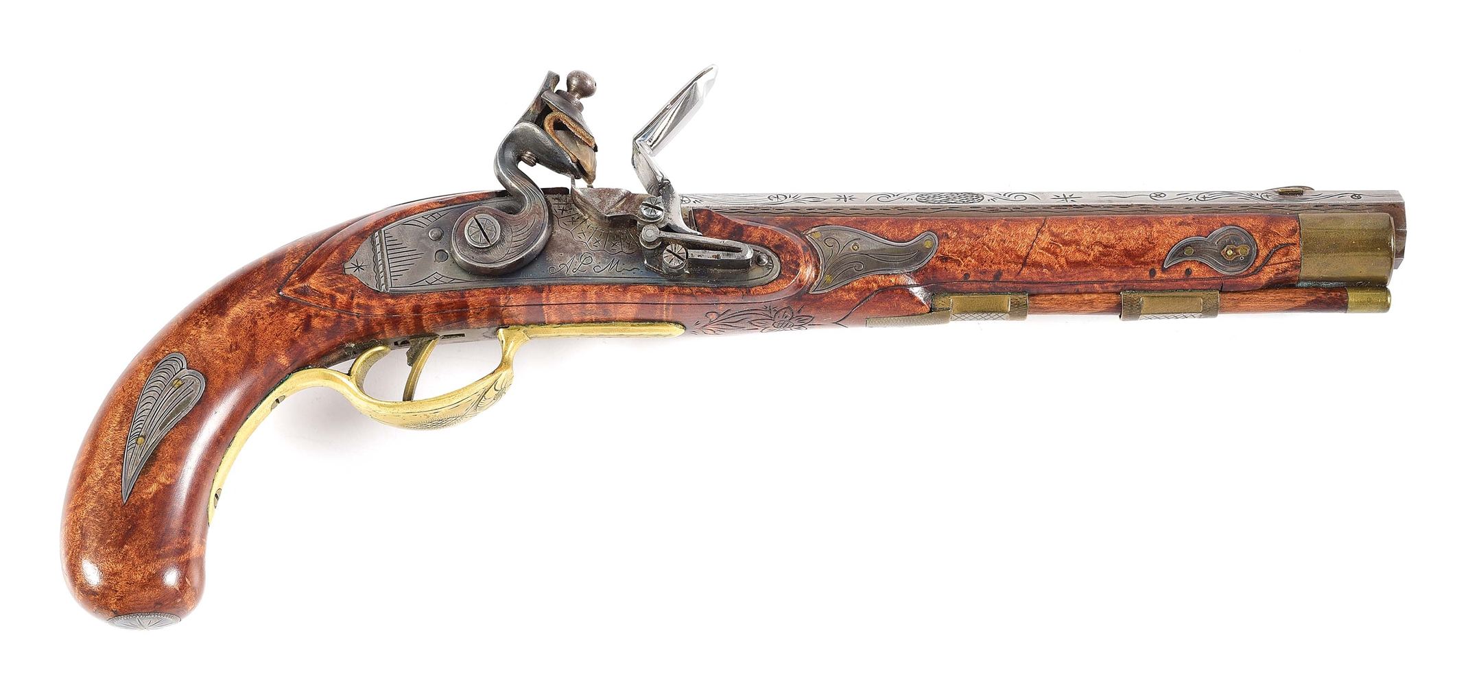 (A) .38 CALIBER FLINTLOCK PISTOL MADE BY L.A. MEADOWS FOR HACKER MARTIN.