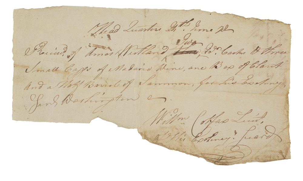 WINE RECEIPT FOR WASHINGTONS COUNCIL OF WAR, MAY 24, 1778 LEADING TO MONMOUTH BATTLE