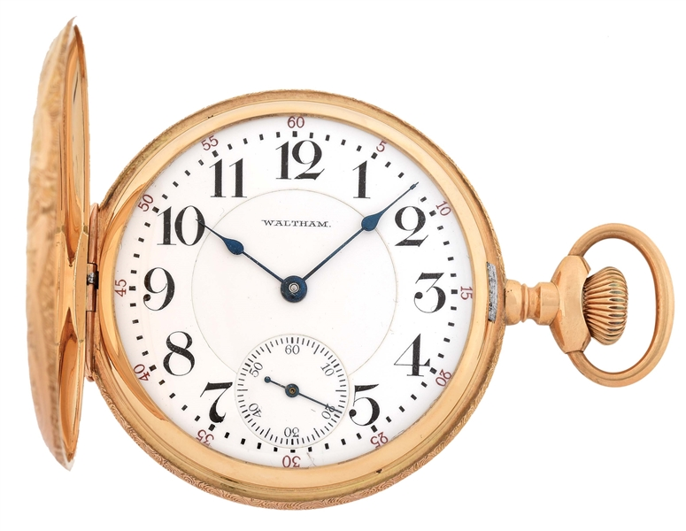14K YELLOW GOLD AMERICAN WALTHAM VANGUARD H/C POCKET WATCH, CIRCA 1908.