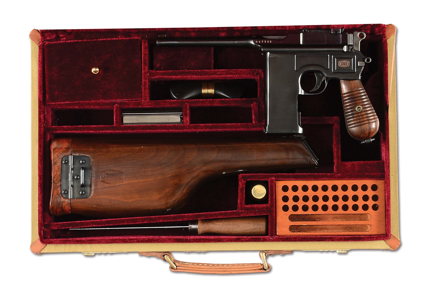(N) FANTASTIC FULL AUTO BROOMHANDLE MAUSER MACHINE GUN PISTOL WITH 20 SHOT FIXED MAGAZINE (CURIO AND RELIC).