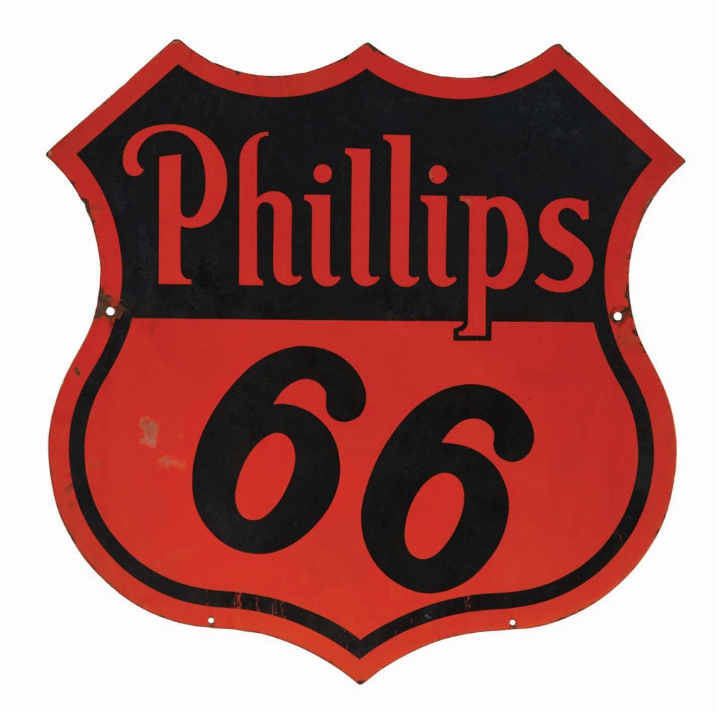 PHILLIPS 66 GASOLINE PORCELAIN SHIELD SIGN.
