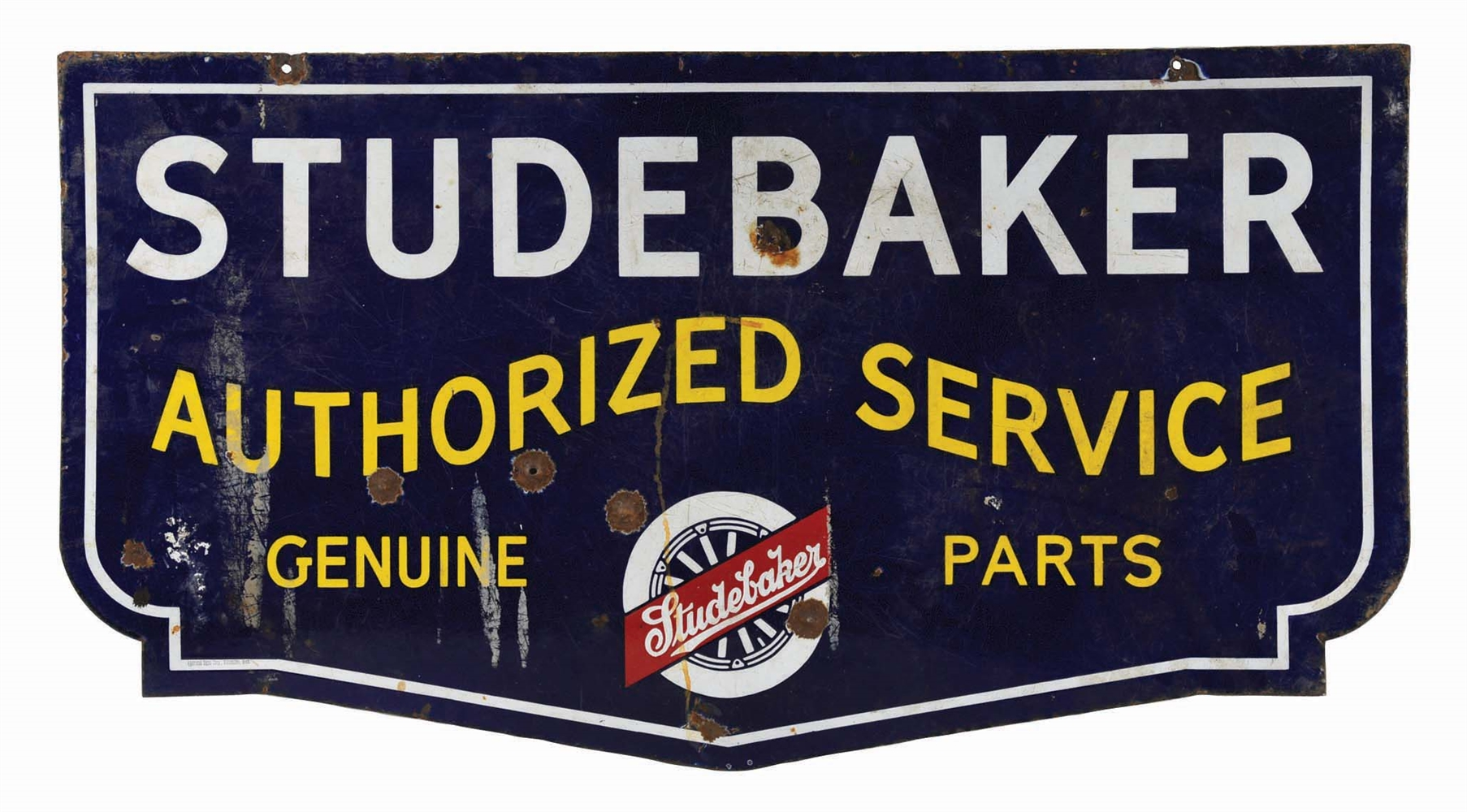 STUDEBAKER AUTHORIZED SERVICE & GENUINE PARTS PORCELAIN SIGN.