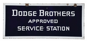 DODGE BROTHERS APPROVED SERVICE STATION PORCELAIN SIGN.