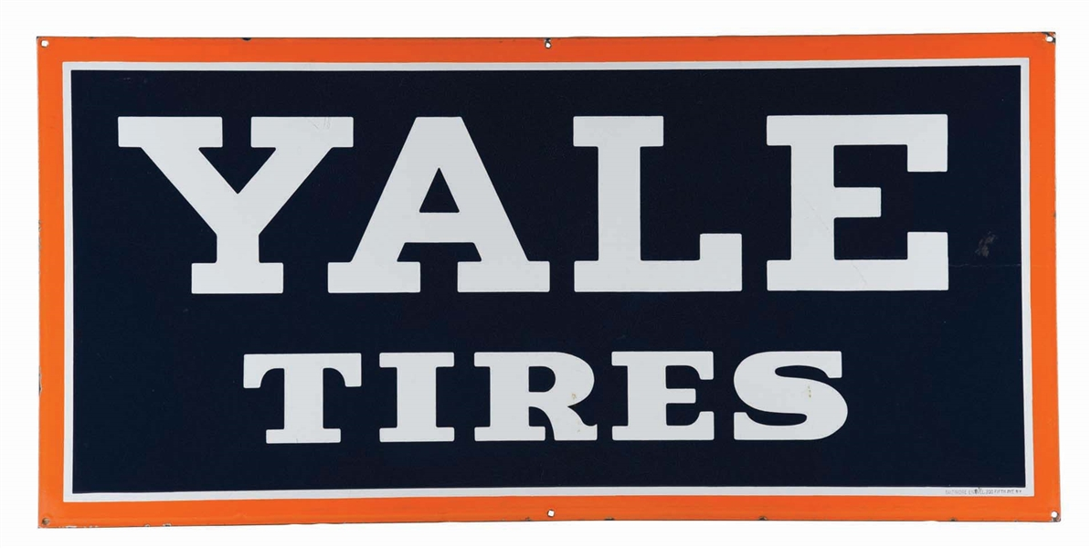 YALE TIRES PORCELAIN SERVICE STATION SIGN.