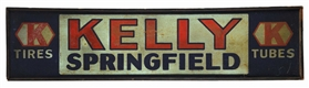 KELLY SPRINGFIELD TIRES & TUBES TIN SIGN W/ SMALTZ PAINT & ORIGINAL WOOD FRAME.