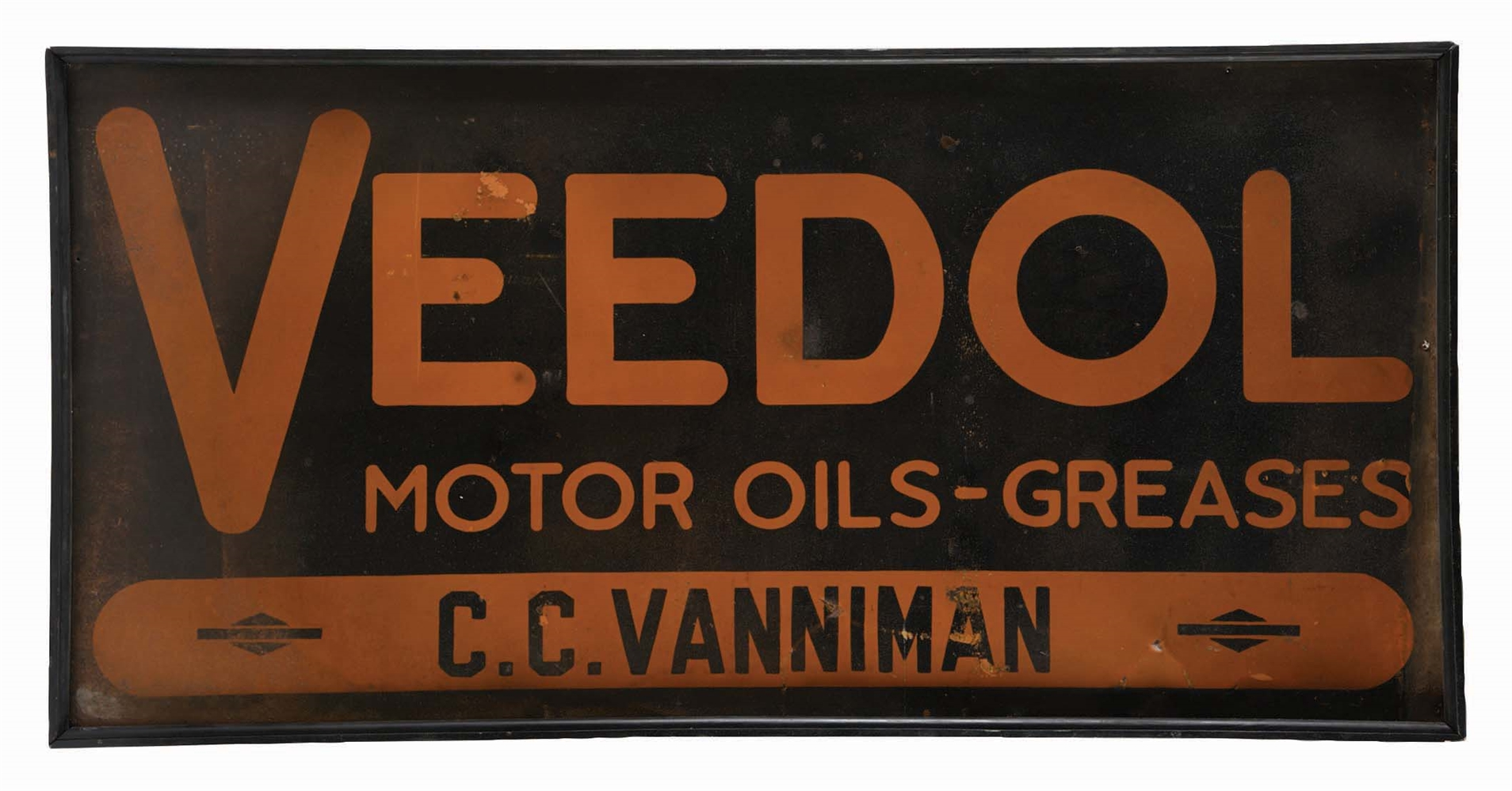 VEEDOL MOTOR OIL TIN SIGN W/ ORIGINAL WOOD FRAME.