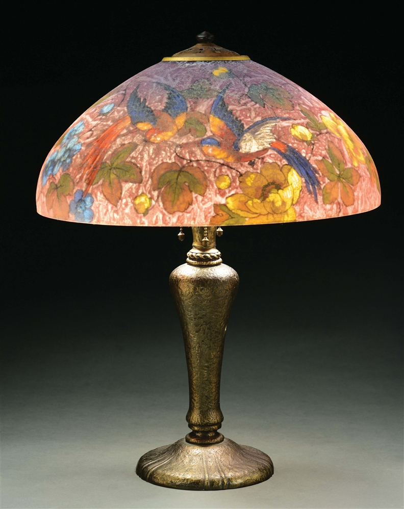 HANDEL REVERSE PAINTED BIRD OF PARADISE #7120 TABLE LAMP.