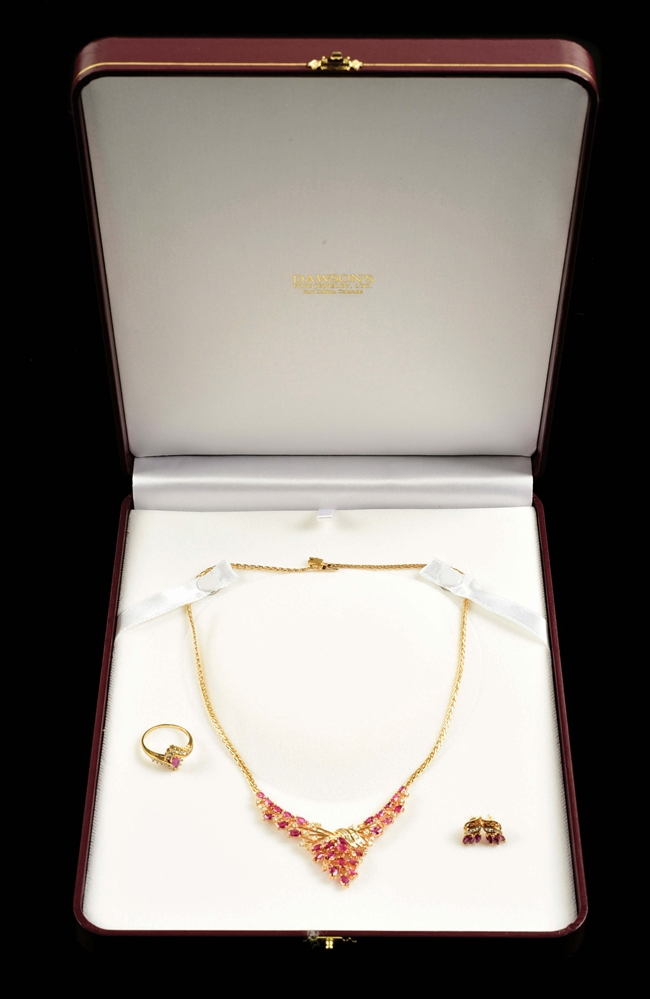 LOT OF 3: 14K GOLD RUBY & DIAMOND NECKLACE, EARINGS, AND RING SET.