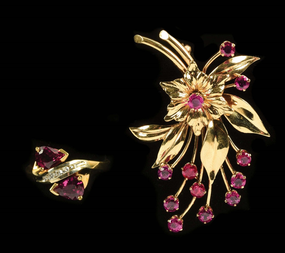 LOT OF 2: 14K GOLD TIFFANY RUBY BROOCH AND RING.