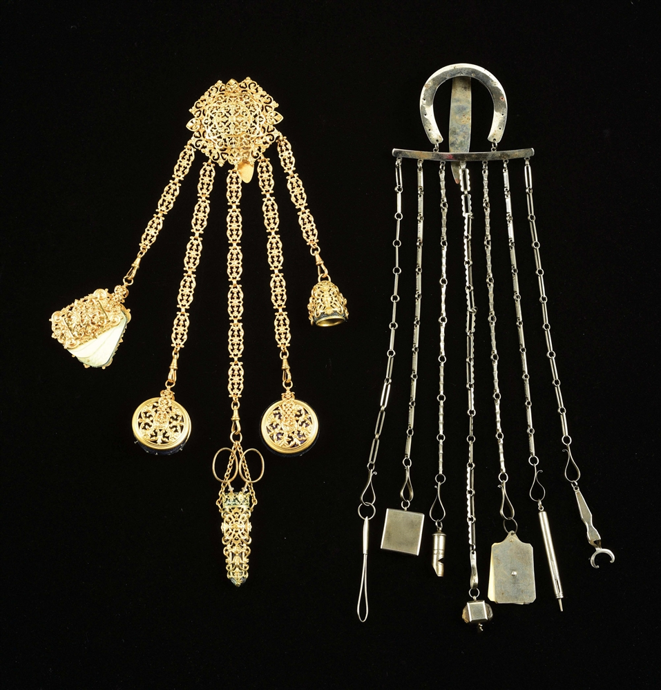 LOT OF 2: VICTORIAN CHATELAINE.