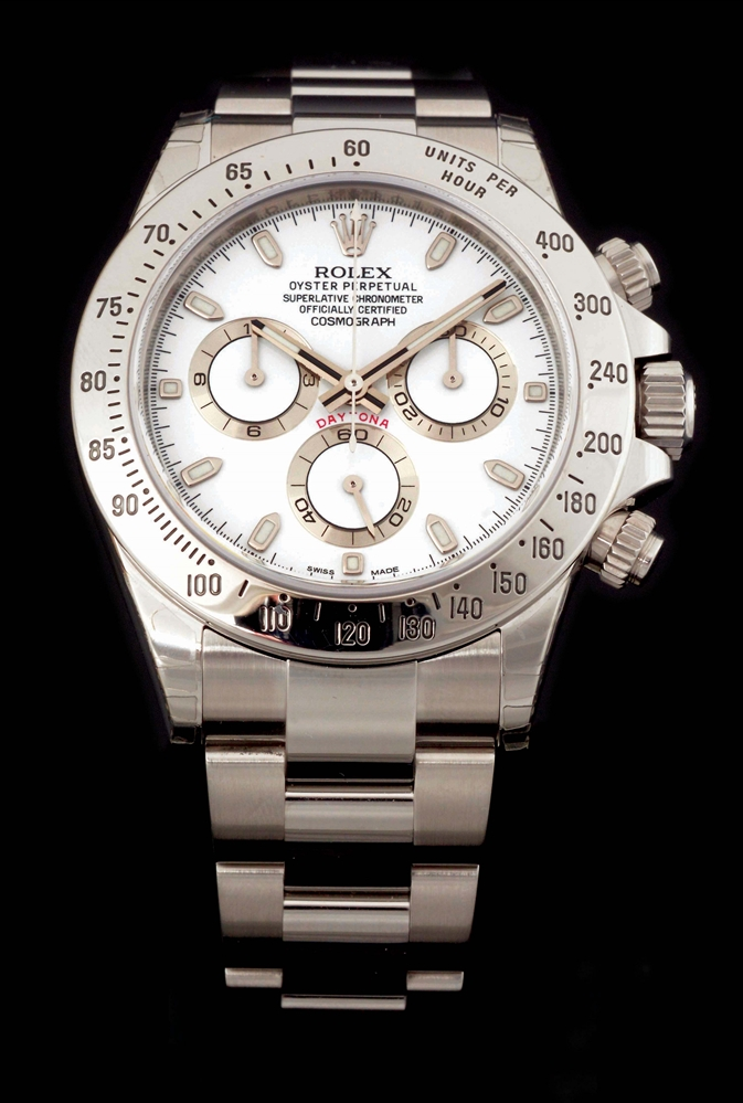 MENS ROLEX COSMOGRAPH DAYTONA IN STAINLESS STEEL W/WHITE DIAL, REF. 116520 NEW IN BOX W/CARD.