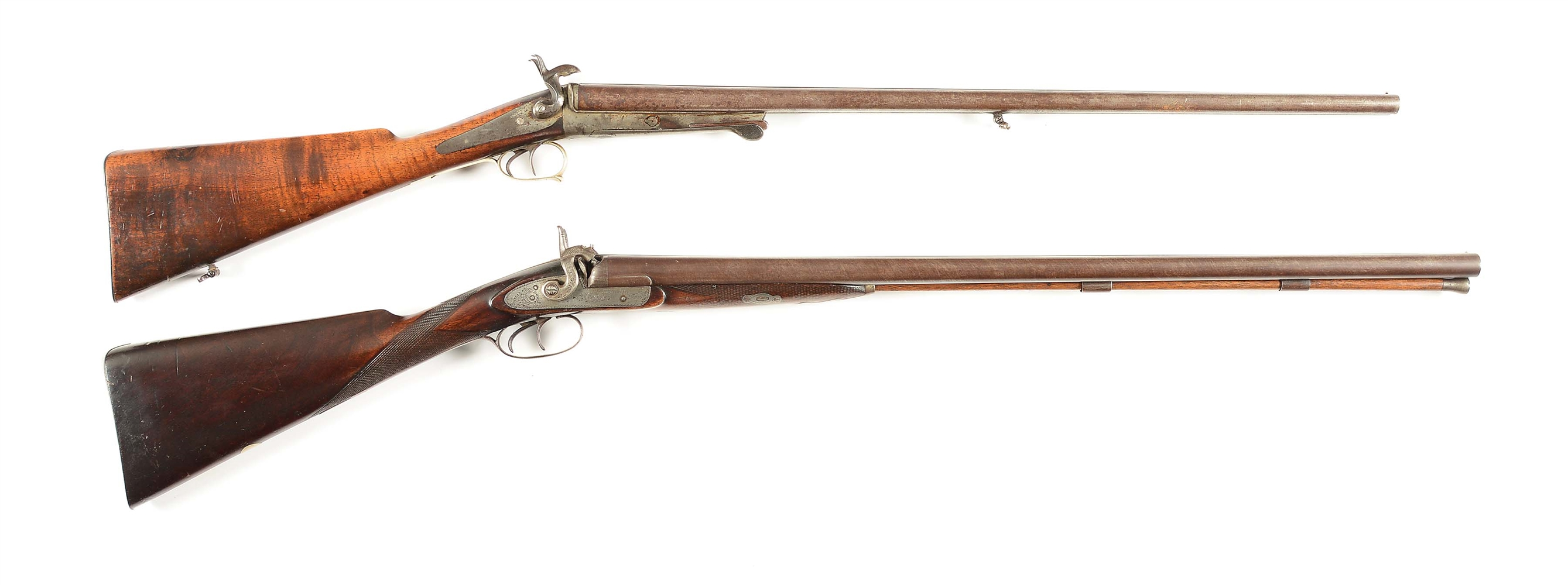 (A) LOT OF 2: UNKNOWN AND W & C SCOTT AND SON PERCUSSION SHOTGUNS.