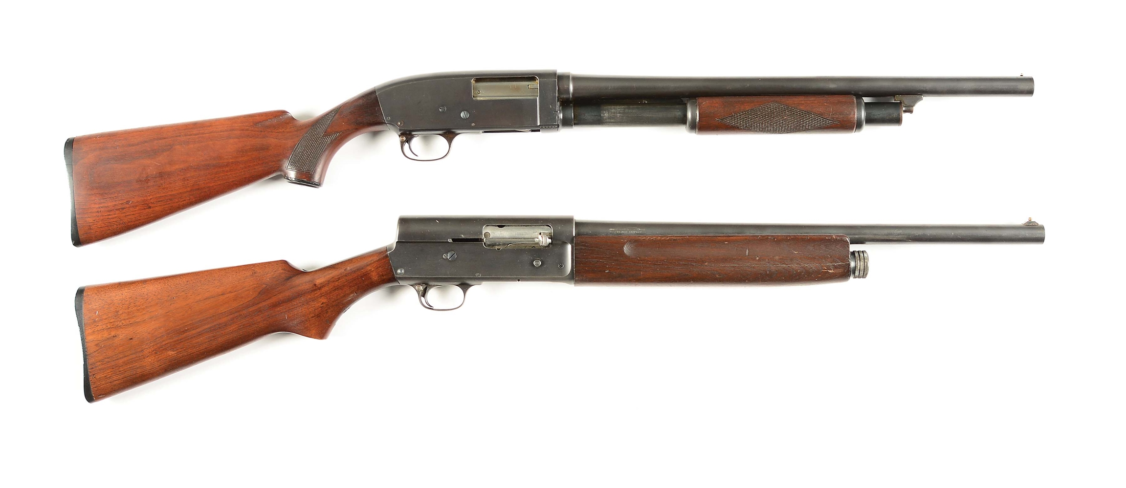 (C) LOT OF 2: MARTIALLY MARKED STEVENS AND SAVAGE SHOTGUNS.