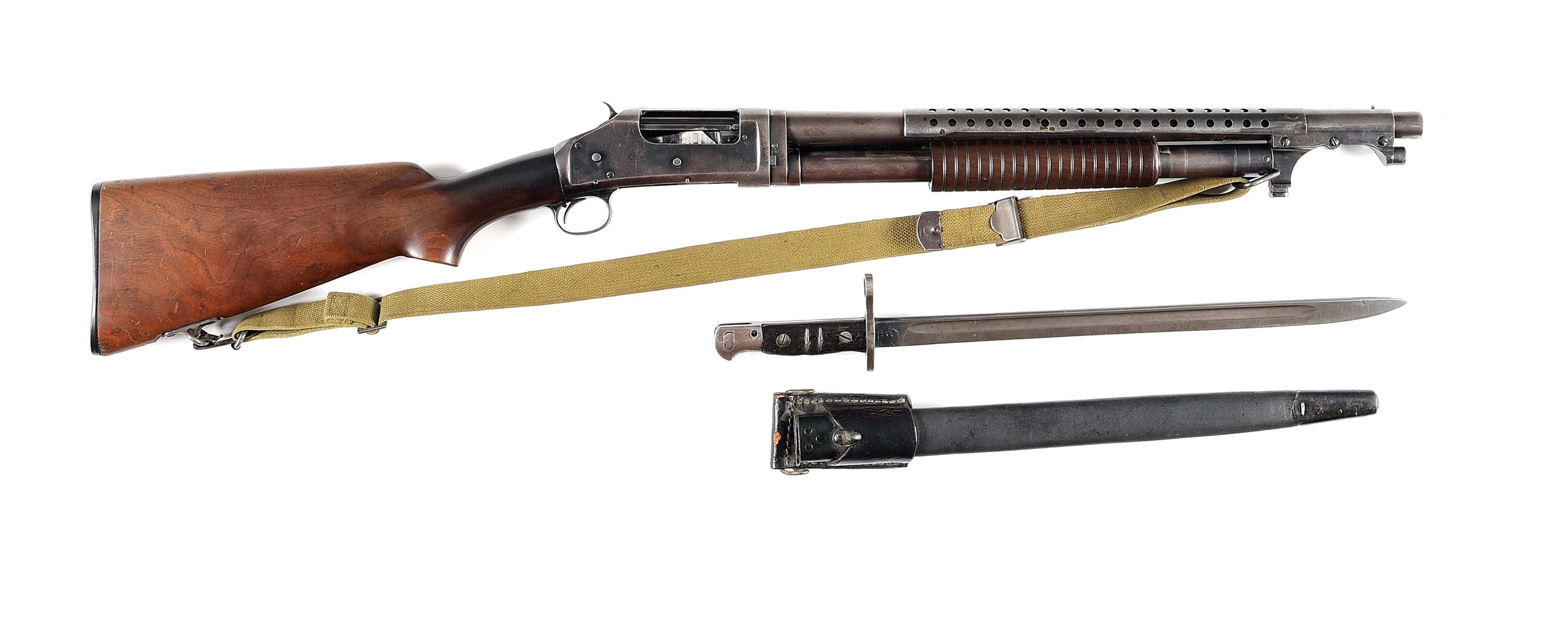 (C) WINCHESTER 1897 TRENCH STYLE SLIDE ACTION SHOTGUN WITH BAYONET.