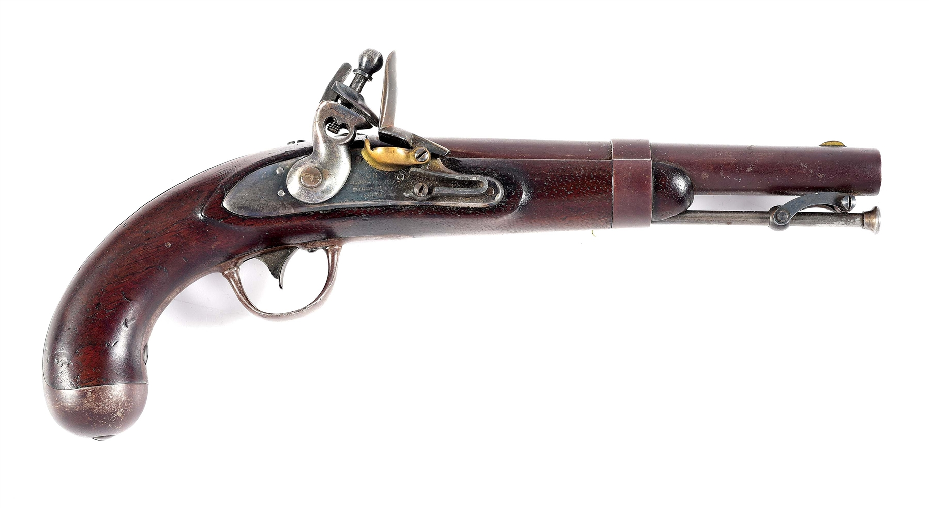 (A) R. JOHNSON 1836/1843 FLINTLOCK PISTOL.
