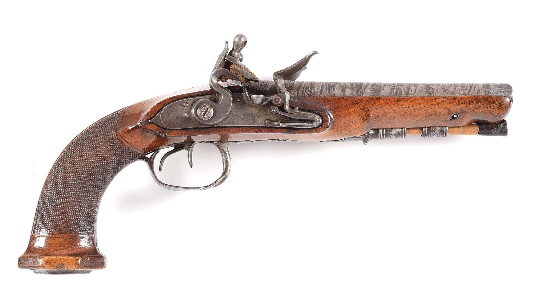 (A) A CONTINENTAL, LIKELY BELGIAN, DOUBLE BARREL HOWDAH OR OFFICERS FLINTLOCK PISTOL, IN AN UNUSUALLY SMALL BORE.