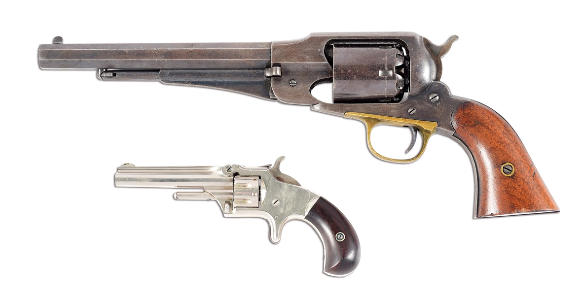 (A) LOT OF 2: REMINGTON 1858 ARMY TOGETHER WITH A SMITH & WESSON NO. 1 REVOLVER.