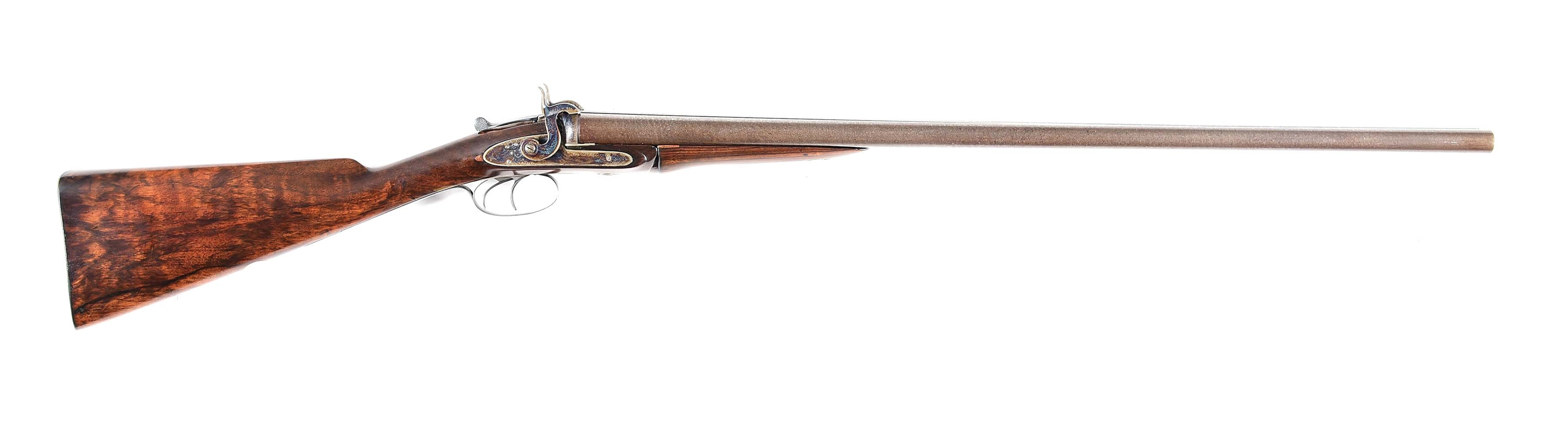 (A) WESTLEY RICHARDS 1871 PATENT SIDE BY SIDE HAMMER FIRED 12 BORE SHOTGUN, CONVERTED FROM PINFIRE.