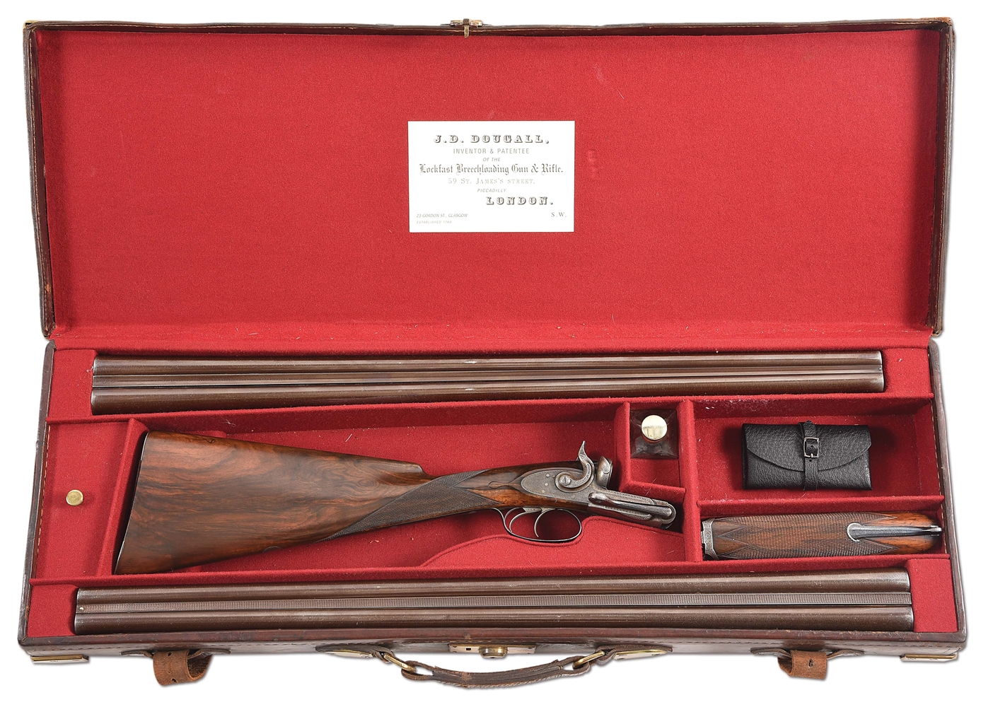 (A) J.D. DOUGALL HAMMERFIRE SIDE BY SIDE SIDELEVER SIDELOCK SHOTGUN WITH CASE & ACCESSORIES.