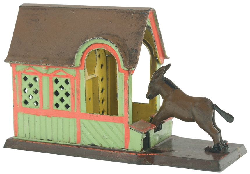 J. & E. STEVENS MULE ENTERING BARN CAST-IRON MECHANICAL BANK.