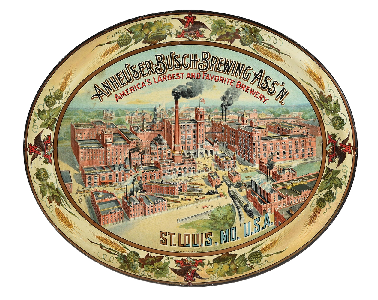 LARGE SIZE ANHEUSER-BUSCH SERVING TRAY.