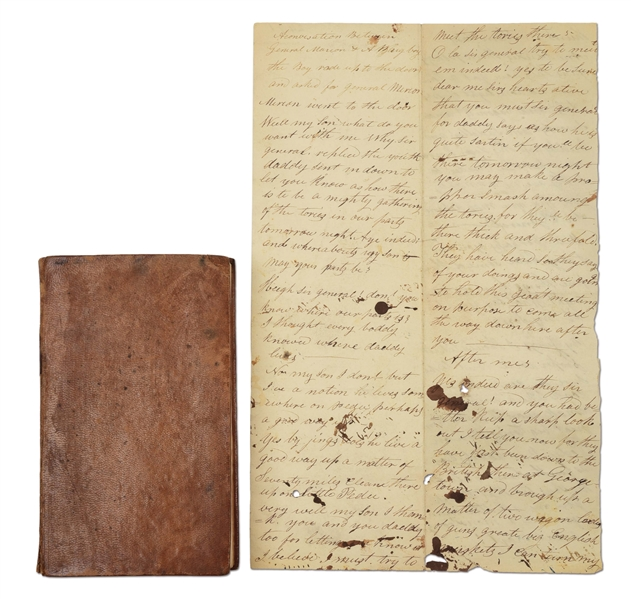 "MANUSCRIPT OF ""MARION AND A WHIG BOY"" WITH HORRYS ""LIFE OF MARION"" (LOT OF 2)."