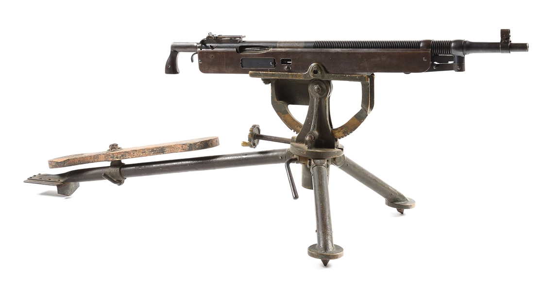 "(N) SCARCE AND FUN TO SHOOT LOW SERIAL NUMBER MARLIN MANUFACTURED ""DIGGER"" MACHINE GUN ON ORIGINAL TRIPOD (CURIO AND RELIC)."