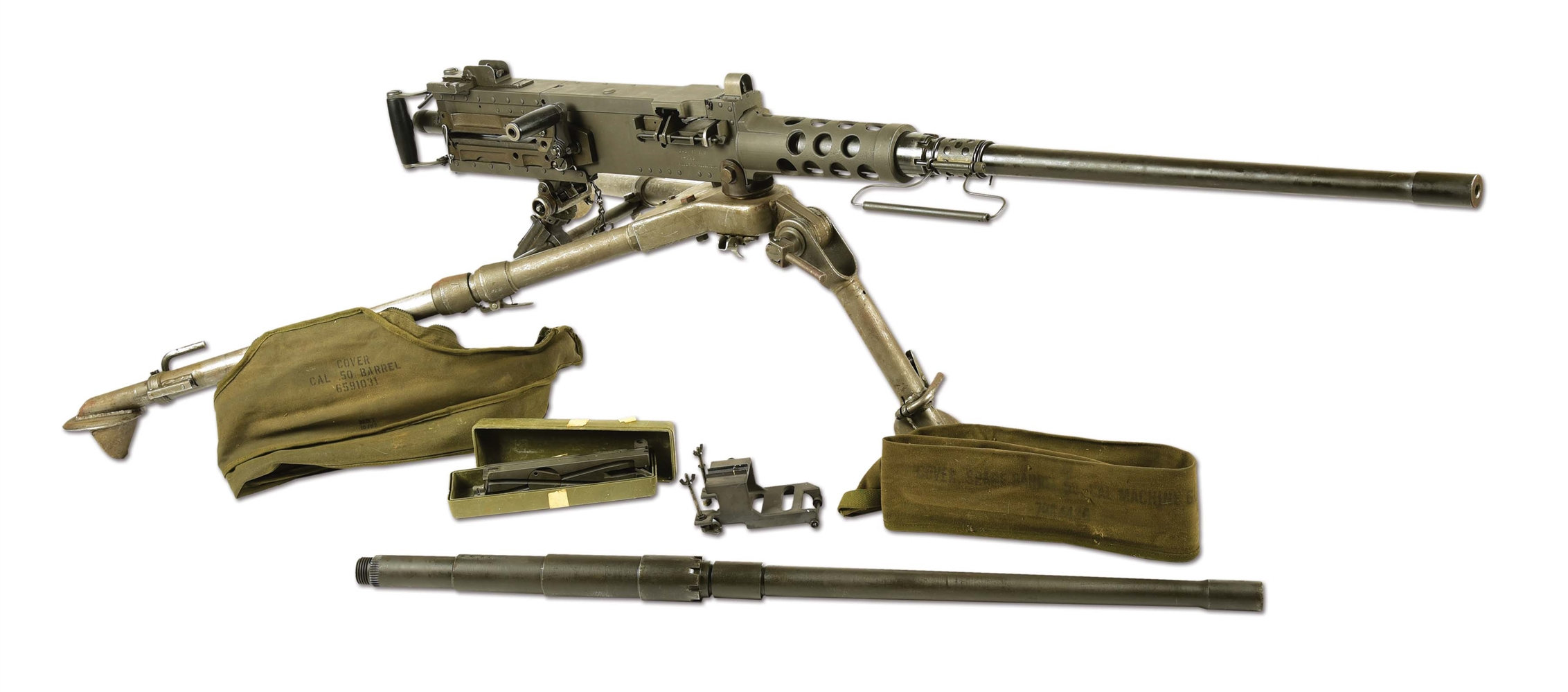 (N) NEAR MINT URICH SIDEPLATE BROWNING M2 .50 CALIBER MACHINE GUN ON GROUND TRIPOD (FULLY TRANSFERABLE).