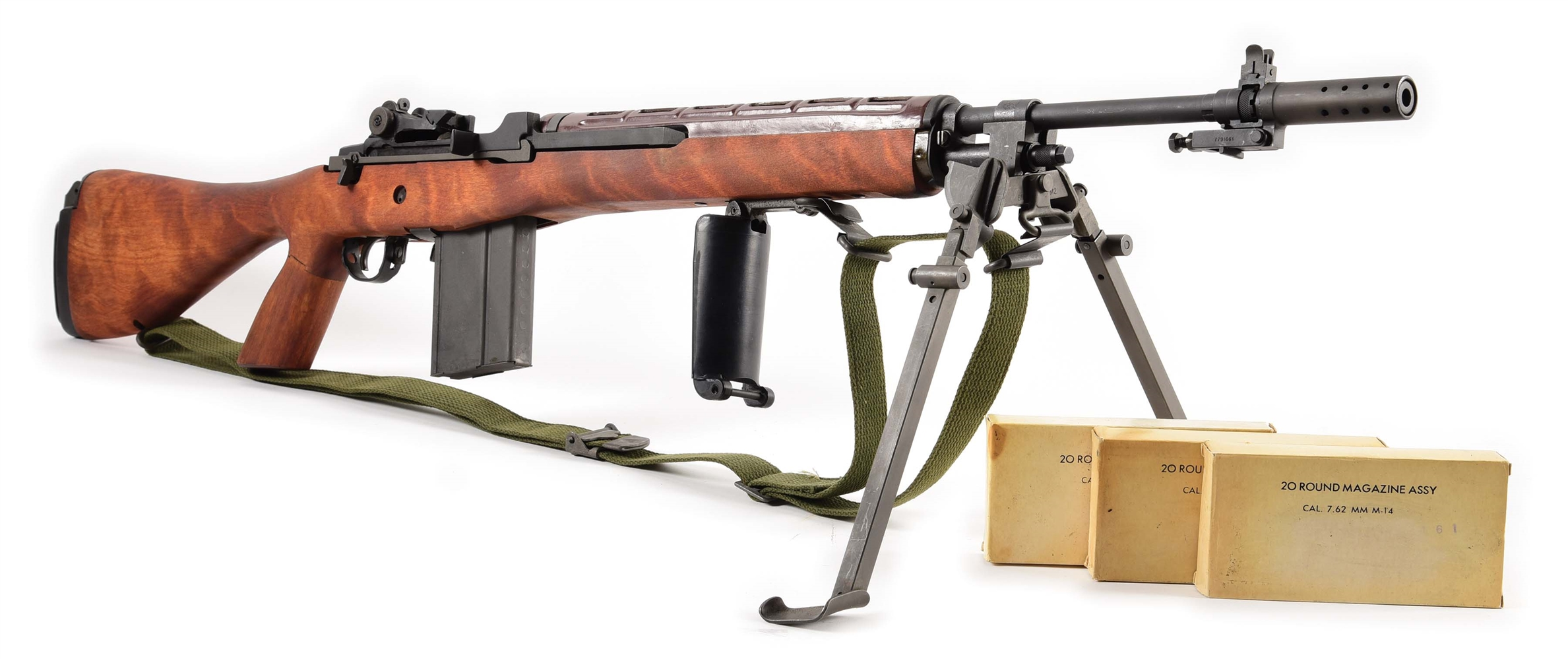 (N) MAGNIFICENT UNFIRED SPRINGFIELD ARMORY M1A-E2 CONVERTED TO M14 MACHINE GUN BY OZARK MOUNTAIN (FULLY TRANSFERABLE).