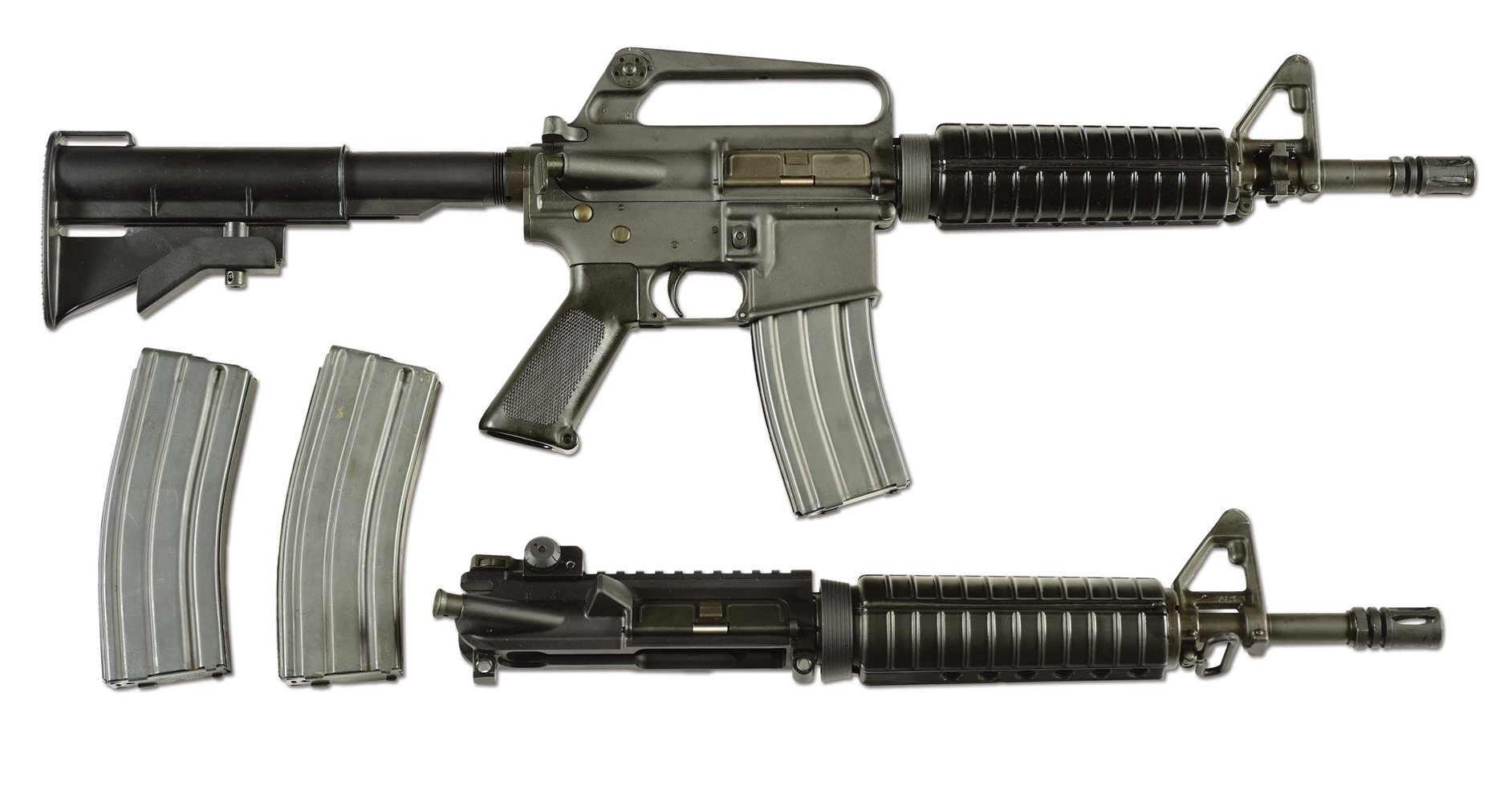 (N) BEAUTIFUL ORIGINAL COLT M16A1 MACHINE GUN IN COMMANDO CONFIGURATION WITH SPARE UPPER ASSEMBLY (FULLY TRANSFERABLE).
