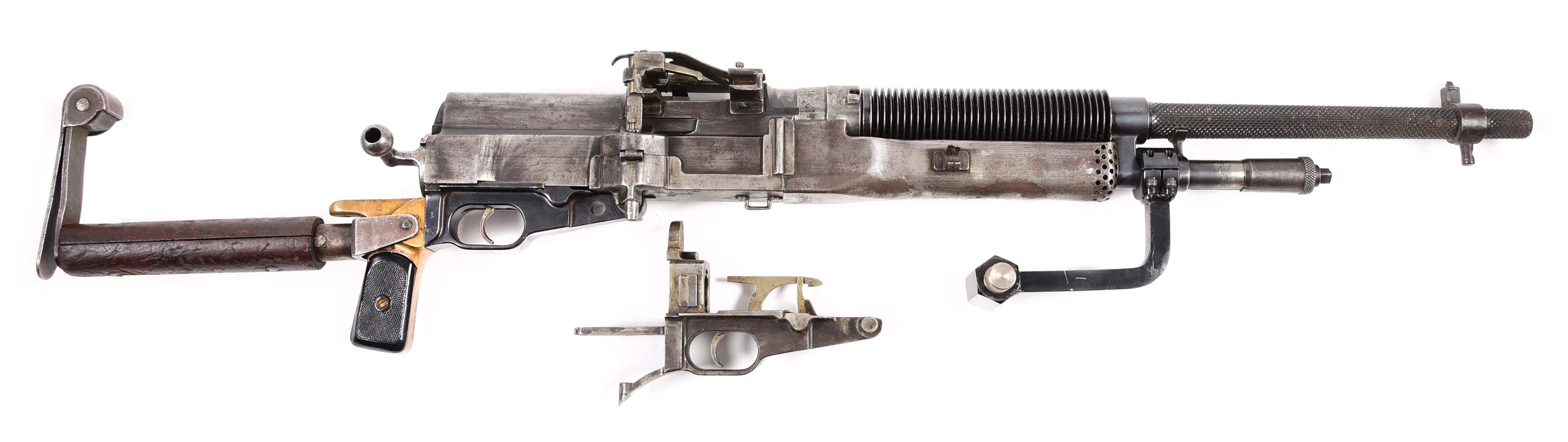 (N) SOUTH AMERICAN CONTRACT HOTCHKISS PORTATIVE MODEL 1910 MACHINE GUN WITH SHOULDER EXTENSION (CURIO AND RELIC).
