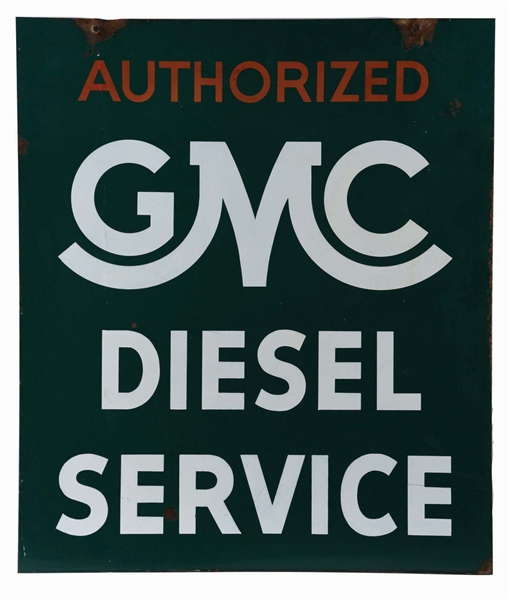 RARE GMC AUTHORIZED DIESEL SERVICE PORCELAIN SIGN.