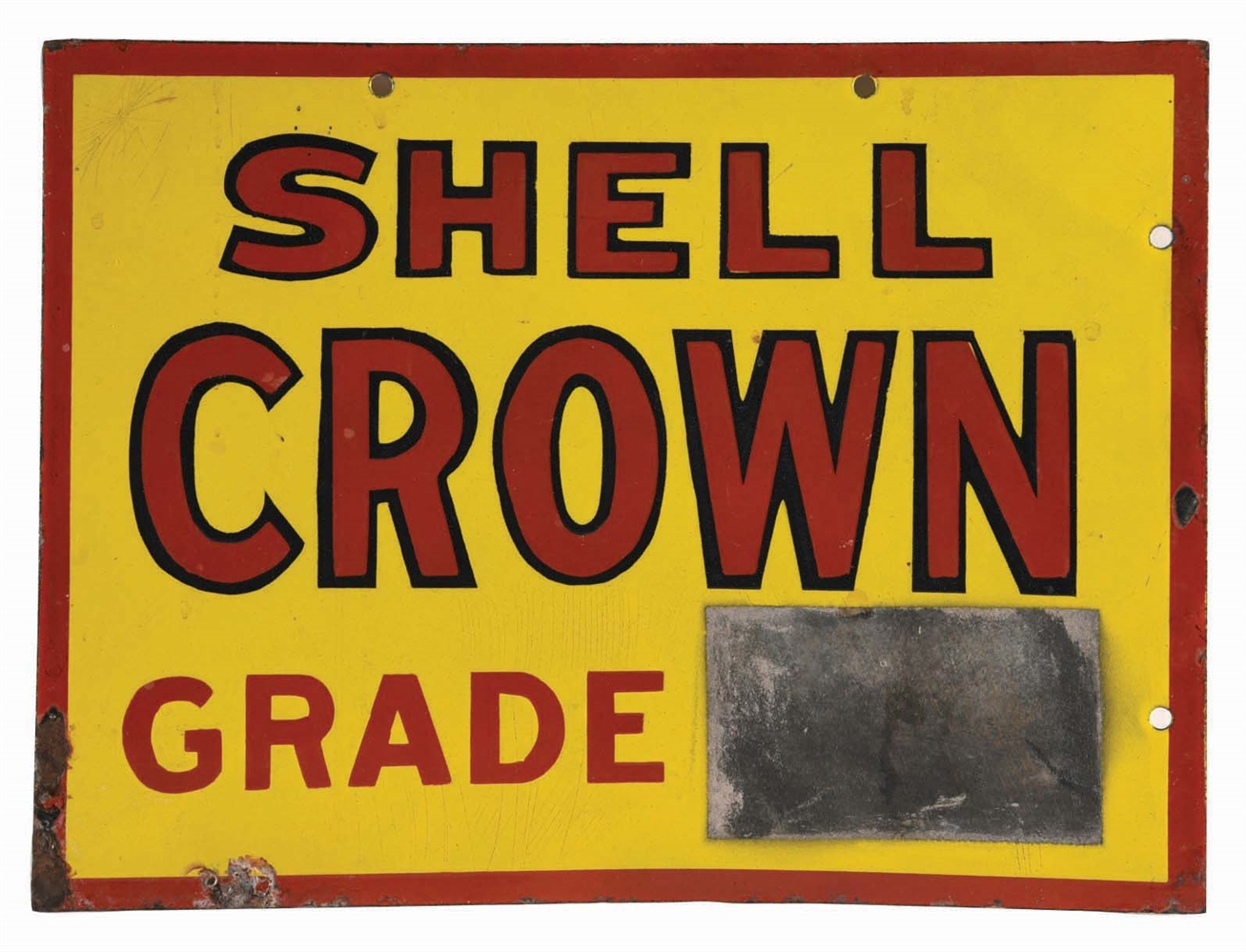 UNIQUE & RARE SHELL CROWN GRADE GASOLINE PORCELAIN PUMP PRICER SIGN W/ CHALKBOARD.