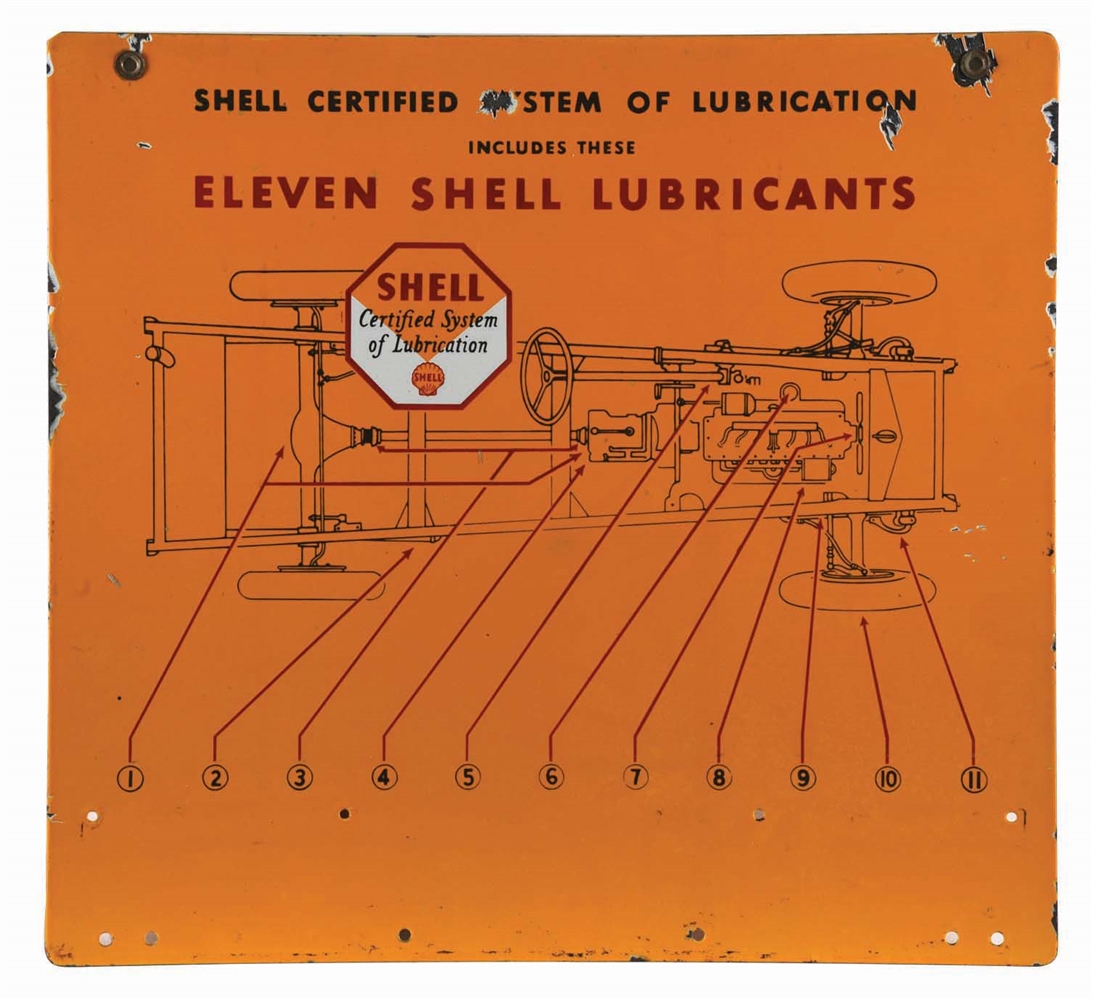 SHELL CERTIFIED SYSTEM OF LUBRICATION PORCELAIN SERVICE STATION SIGN W/ CAR CHASSIS GRAPHIC.