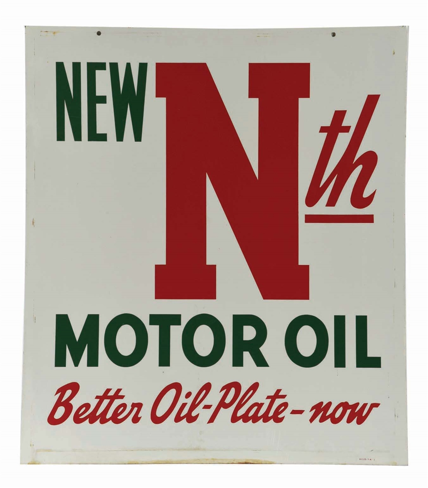 CONOCO NEW NTH MOTOR OIL TIN SERVICE STATION SIGN.