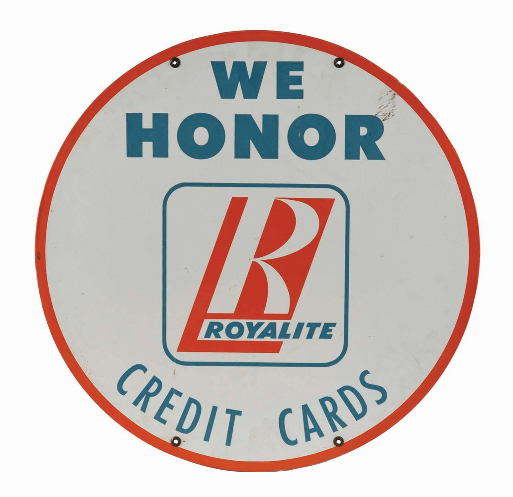 WE HONOR BA ROYALITE CREDIT CARDS PORCELAIN SERVICE STATION SIGN.