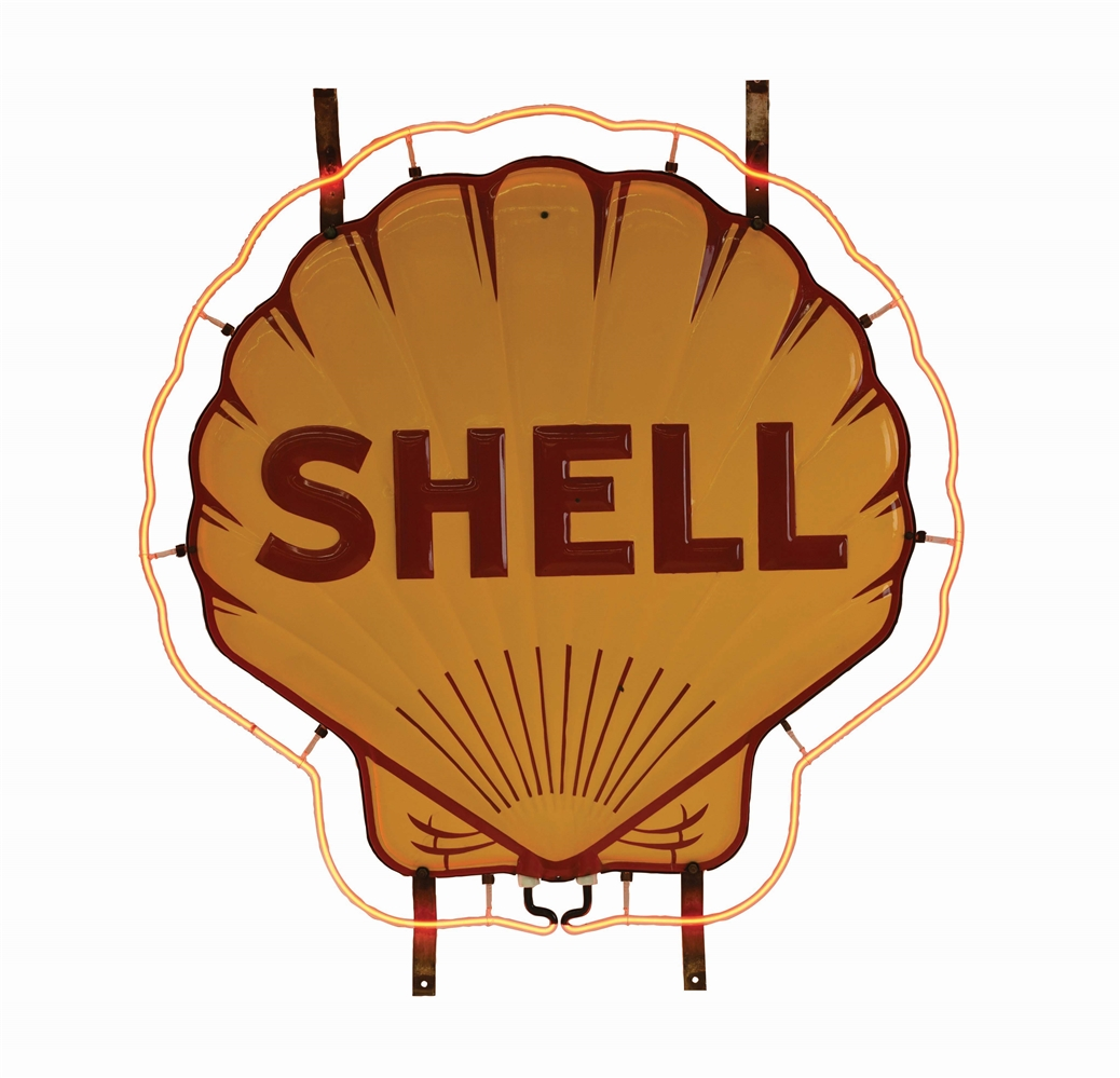 OUTSTANDING SHELL GASOLINE TWO PIECE PORCELAIN NEON SIGN.