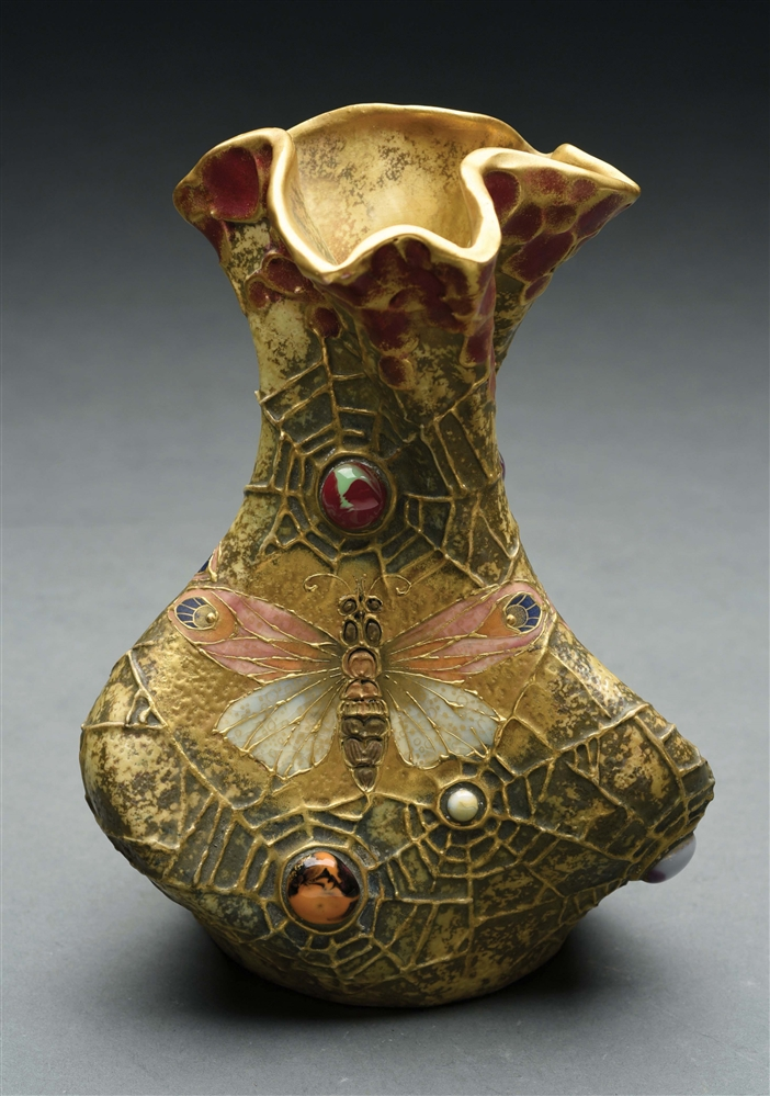 "AMPHORA JEWELED BUTTERFLY AND WEB ""SEMIRAMIS"" VASE."