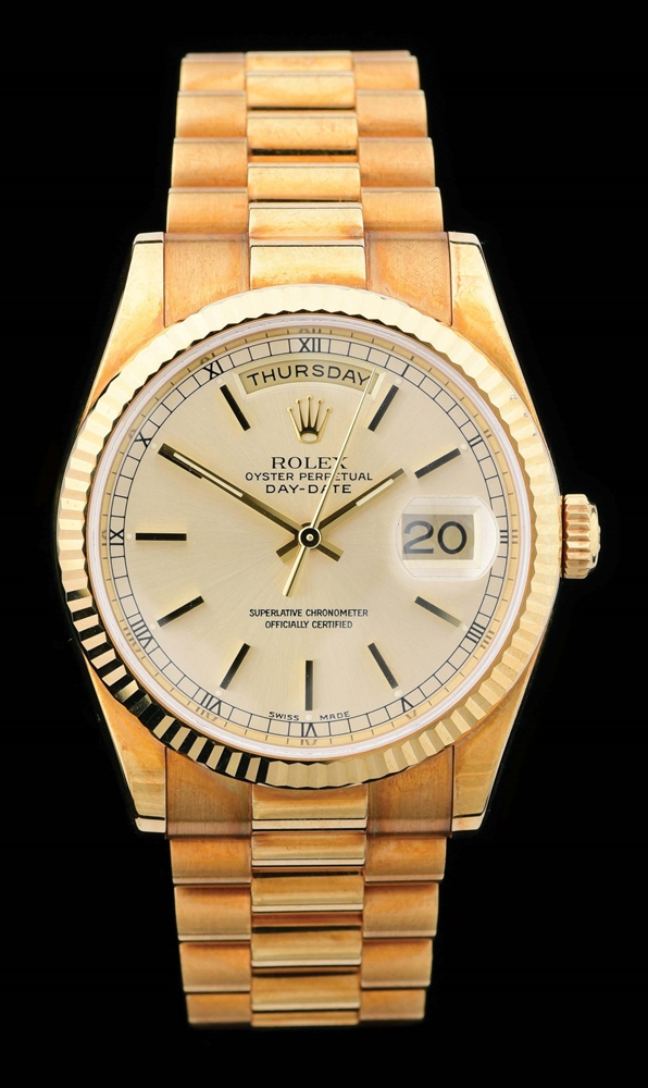 MENS 18K GOLD ROLEX PRESIDENT DAY-DATE CHAMPAGNE INDEX DIAL, REF. 118238 FULL SET W/B&P.
