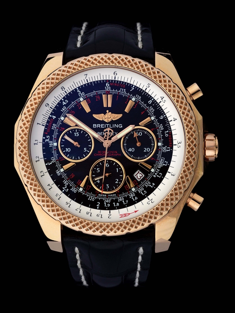 MENS 18K PINK GOLD BREITLING FOR BENTLEY, SPECIAL LIMITED EDITION NO. 13, CERTIFIED CHRONOMETER CHRONOGRAPH AUTOMATIC WRISTWATCH, REF. R25367 W/B&P.
