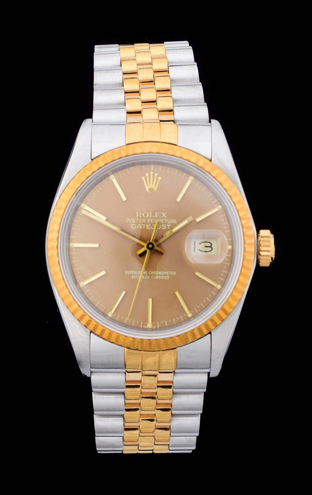 MENS TWO TONE ROLEX DATEJUST IN STEEL & 18K GOLD W/BRONZE INDEX DIAL & BOX, REF. 16013.