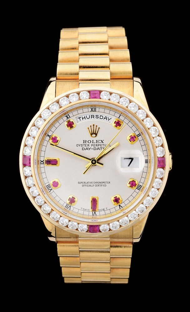 MENS 18K GOLD ROLEX PRESIDENT DAY-DATE CHAMPAGNE RUBY DIAL W/DIAMOND & RUBY BEZEL, REF. 18238.