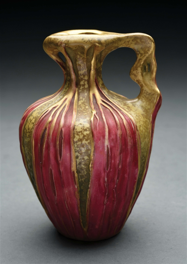 ONE-HANDLED RED LEAF VASE.