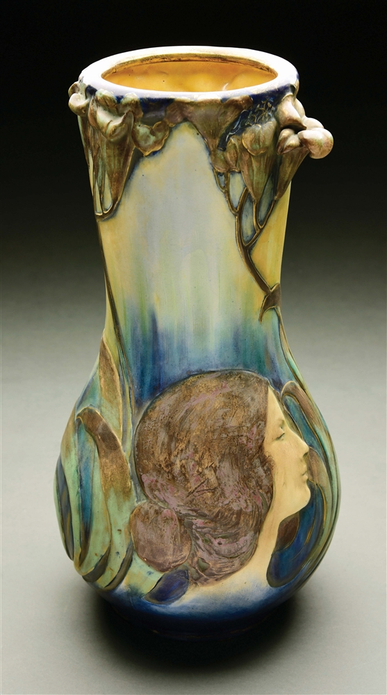 MONUMENTAL AMPHORA BLOWOUT PORTRAIT VASE.