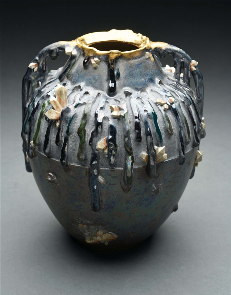 ERNST WAHLISS DRIPPING CRYSTALS VASE.
