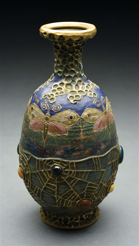 AMPHORA JEWELED BUTTERFLY AND WEB VASE.